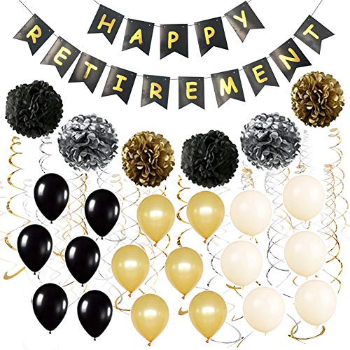 Fulol Happy Retirement Banner Bunting Kit Retired Sash Paper Pom Poms Foil Ideal Latex Balloons for Retirement Party Supplies Favors Gifts Decorations