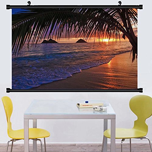 Gzhihine Wall Scroll Posterpacific sunrise at lanikai beach hawaii ,Wall Art Paiting on Canvas 35