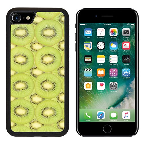 Liili iPhone 7 Case and iPhone 8 Case Silicone Bumper Shockproof Anti-Scratch Resistant Tempered Glass Hard Cover Detailed pattern made of kiwi slices 28799792