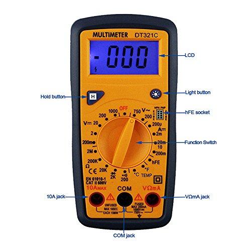 OLSUS DT321C LCD Handheld Digital Multimeter, Using for Home and Car - Black + Yellow by OLSUS (Image #5)