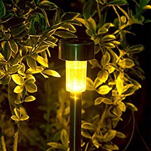 GIGALUMI Solar Lights Outdoor Garden Led Light Landscape / Pathway Lights Stainless Steel-12 Pack