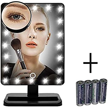 new version makeup mirror flymei touch screen 20 led lighted vanity mirrors with removable 10x magnifying mirrors include aa batteries 4 pack - Lighted Vanity Mirror