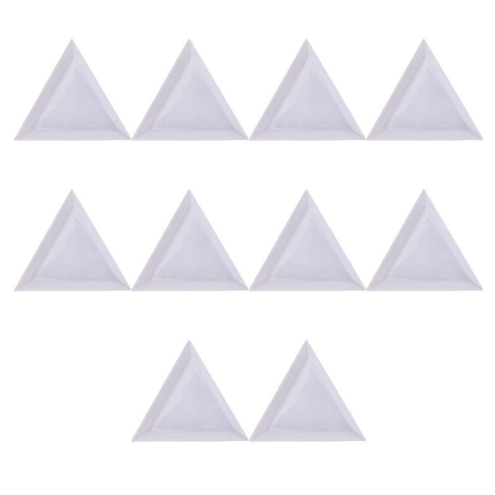 Merssavo 10Pcs Triangle/Round Rhinestones Beads Crystal Nail Art Sorting Trays Plastic