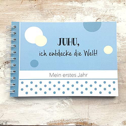 mintkind Baby Erinnerungsbuch Mein erstes Jahr blau I Babytagebuch I Tolle Geschenkidee Babygeschenk