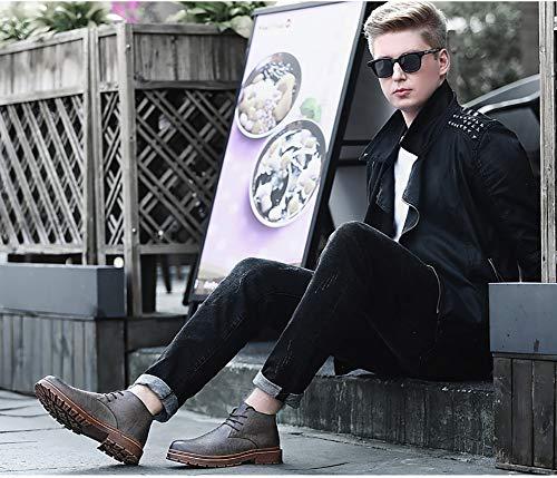 Antideslizantes color top Con Gray Zapatos Us 6 Casuales High Tamaño Cuero Herramientas Uk Martin Hombre De Invierno Cordones Para Lxla 7 Gray FxIwqP7g6B