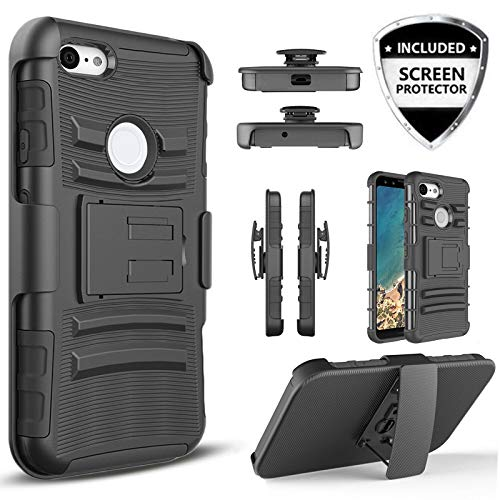 Cover Optional Rigid - Customerfirst Case Google Pixel 3A, Rubberized Swivel Belt Clip Holster Heavy Duty Dual Armor Hybrid Defender Cover [Kickstand & Rugged Grip] for Google Pixel 3 Lite/3A 5.6