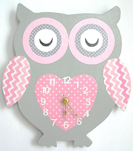 Nursery Wall Clock, Nursery Owl Clock, Hanging Owl Clock, Children's Room Wall Clock, Owl Wall Clock, Kid's Room Owl Wall Clock (grey/pink)