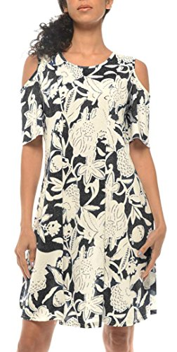 BOCOTUBE Womens Cold Shoulder Short Sleeve Floral Printed Casual Tunic Dress