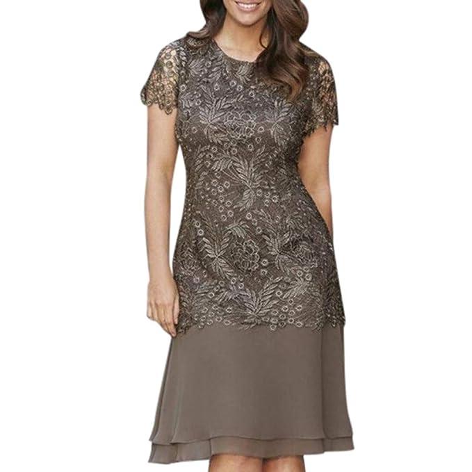 Aniywn Party Formal Dresses, Women Short Sleeve Lace Patchwork Floral Print  Midi-Dress Plus Size Dress