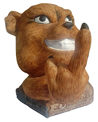 Grizzly Teddy Bear FU Bobble Middle Finger Toy Bobblehead - Cute Bruin Cub Gift