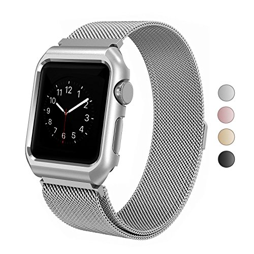 (SIXRARI Compatible Apple Watch Band with Case 38mm,Milanese Loop Stainless Steel with Magnetic Closure & Metal Protective Cover Frame Adjustable Bands Replacement for Iwatch Series 3 2 1 Silver)