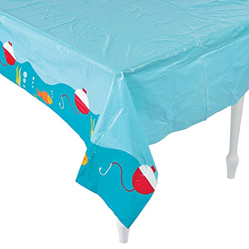Fun Express - Little Fisherman Tablecover for Birthday - Party Supplies - Table Covers - Print Table Covers - Birthday - 1 Piece (Fish Party Supplies)