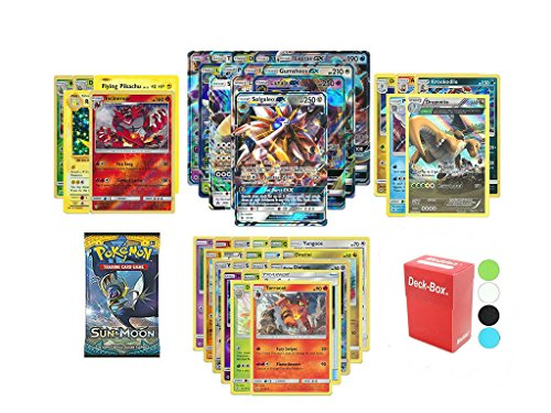 Pokemon GX Guaranteed with Sun and Moon Booster Pack, 5 Holo/Reverse Holo Cards, 5 Rare Cards, 20 Regular Pokemon Cards, Deck Box and Bonus