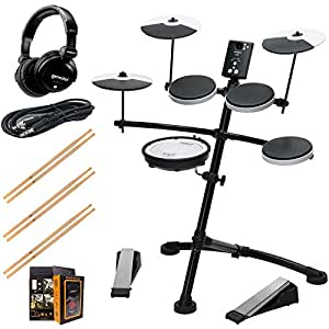 Roland TD-1KV Electronic Drum Set Package with Gemini DJX-07 Headphones, 3 Pairs of Sticks, Aux Cable, and Free Mobile Holder