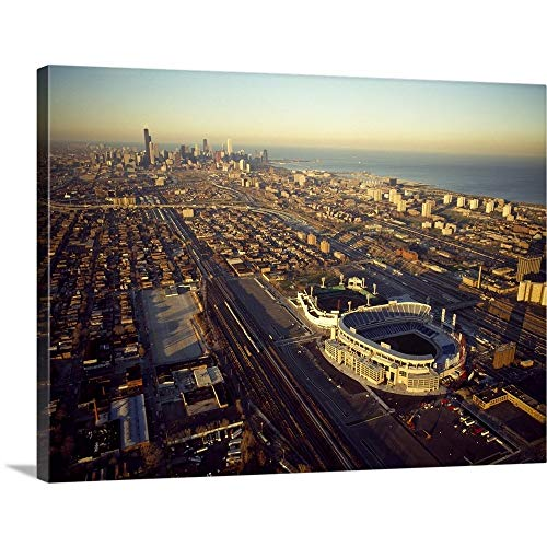 CANVAS ON DEMAND Aerial View of a City, Old Comiskey Park, New Comiskey Park, Chicago, Cook County, Illinois, Ca. (Comiskey Old Park)