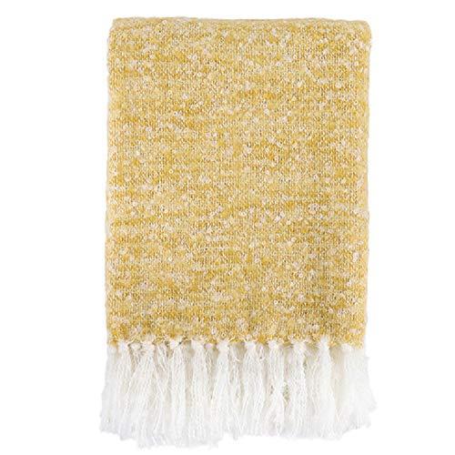 Battilo Lightweight Throw Blanket,100% Acrylic Ultra Soft Fringe Throw Blanket Couch,Bed, Yoga,Beach All Seasons Daily Use, 51 inch by 67 inch (Ochre)