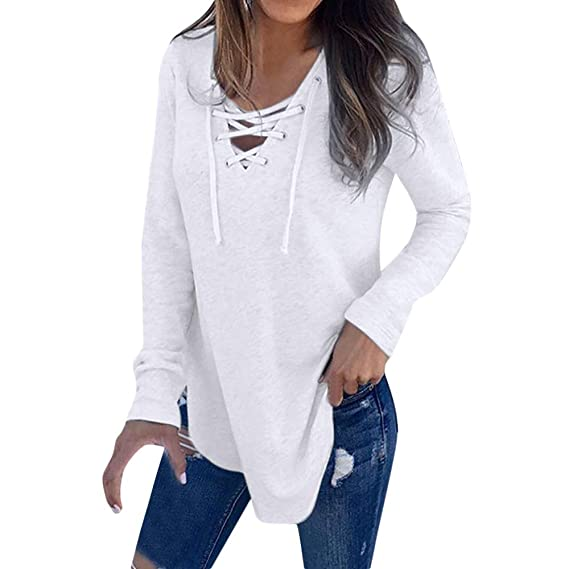 Yvelands Camisas Mujer Slim Fit V-Cuello Correa Camiseta de Manga Larga Top Blusa de