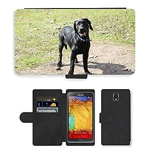 hello-mobile PU LEATHER case coque housse smartphone Flip bag Cover protection // M00136367 Perro perdiguero Animal Negro Cachorro // Samsung Galaxy Note 3 III N9000 N9002 N9005