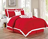 Legacy Decor 9 pc Pleated Microfiber Comforter Set, Red and White Color, King