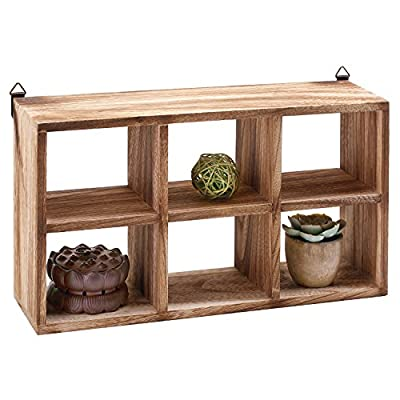 MyGift Wall Mounted 6 Compartment Paulownia Wood Shadow Box, Freestanding Display Shelf - A small wall mounted or freestanding shelf rack made of Paulownia wood and featuring 6 individual compartments. Each compartment is ideal for displaying small items such as bonsai, collectibles, memorabilia, and knick knacks. Includes 2 triangle D-ring mounting tabs (hardware not included). - wall-shelves, living-room-furniture, living-room - 51tJAckiH0L. SS400  -