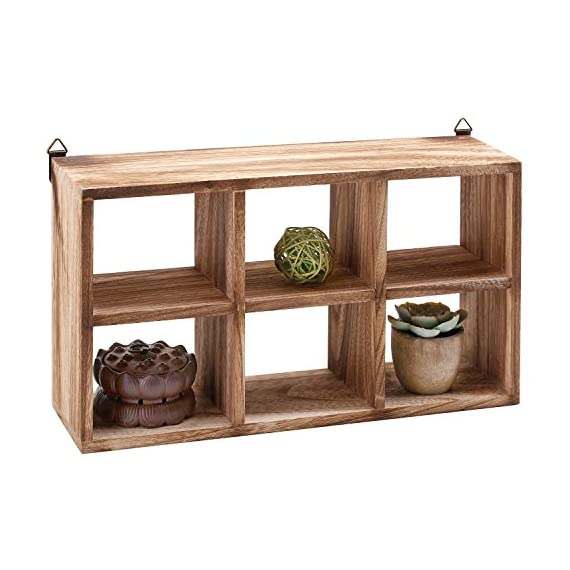 MyGift Wall Mounted 6 Compartment Paulownia Wood Shadow Box, Freestanding Display Shelf - A small wall mounted or freestanding shelf rack made of Paulownia wood and featuring 6 individual compartments. Each compartment is ideal for displaying small items such as bonsai, collectibles, memorabilia, and knick knacks. Includes 2 triangle D-ring mounting tabs (hardware not included). - wall-shelves, living-room-furniture, living-room - 51tJAckiH0L. SS570  -