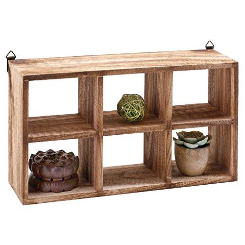 MyGift Wall Mounted 6 Compartment Paulownia Wood Shadow Box, Freestanding Display Shelf