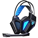 SADES SA710 Gaming Headset 7.1 Surround Sound Gaming Headphone USB Noise Cancelling Headphone with Microphone for PC/Mac (Black)