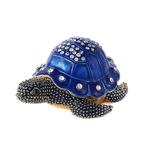 QIFU Vintage Style Hand Painted Turtle Shape Jewelry Trinket Box with Rich Enamel and Sparkling Rhinestones | Unique Gift Home Decor | Best Ornament Your Collection (Painted Turtles)