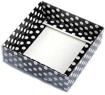 Negro con caja de acetato blanco con puntos, 9x9x3cm, 5 piezas: Amazon.es: Juguetes y juegos