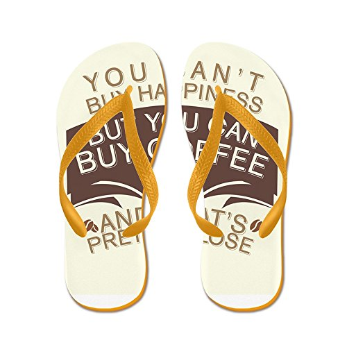 Price comparison product image Royal Lion Kid's You Can't Buy Happiness Buy Coffee Orange Rubber Flip Flops Sandals 4.5-7