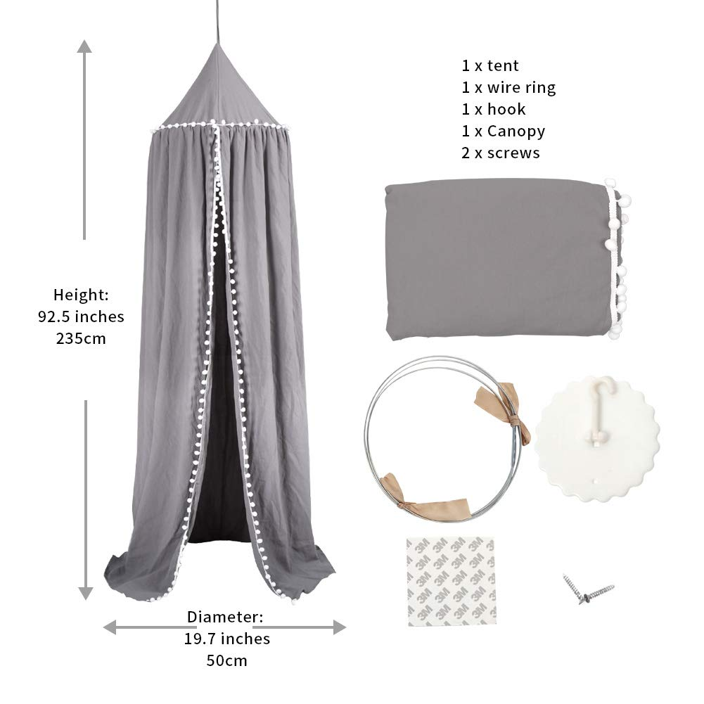 Uaugh Baby Crib Tent,Canopy Mosquito Net for Kids Baby Bed,Insect Protection Hanging Canopy Dome Tent Room for Kids Gray