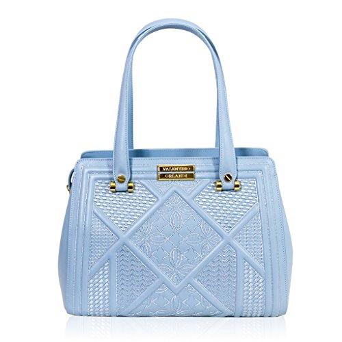 fea5a7d15564 Valentino Orlandi Italian Designer Blue Sky Textured Leather Purse Tote Bag