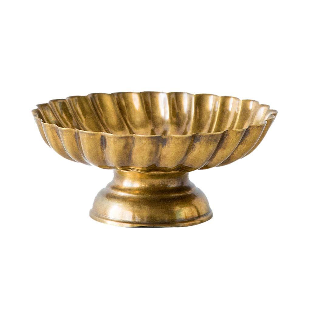 シンプルなメタルフルーツトレイフルーツバスケットプレートフルーツ皿フルーツラックキッチンリビングルームの装飾 (色 : ブラス ぶらす)  ブラス ぶらす B07NQ19YJC