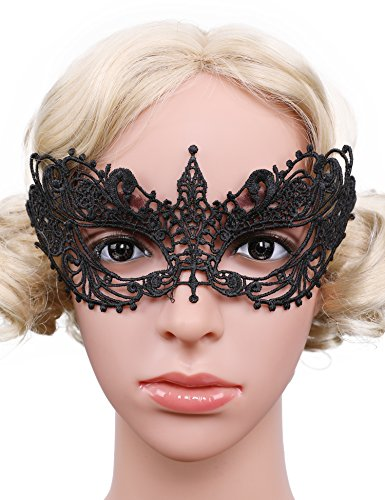 Flapper Girl Lace Masquerade Mask Lace Eyemask Women Eye Mask for Halloween Carnival Ball Party (Pack of (Masquerade Ball Costumes For Girls)