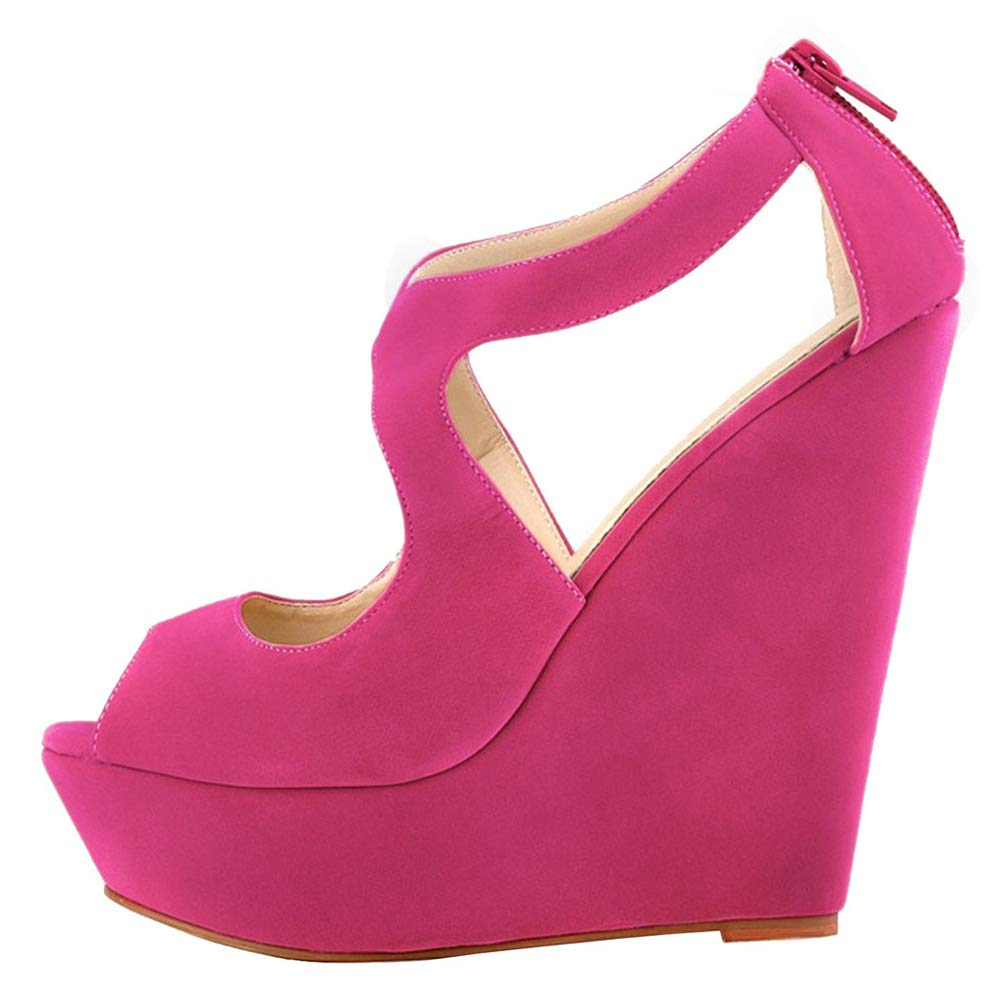 MERUMOTE Womens Wedges Open Heeled Sandals High Platforms Open Wedges Toe Zipper Shoes B07BD7THMF 8 M US|Faux Suede Rose 67f224