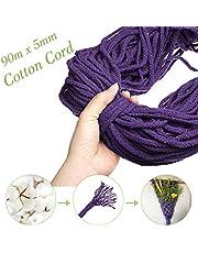 Corde en macramé, GEMITTO Cordon en coton 90 m x 5 mm Corde tressée pour Hanging Plant DIY Décoration, Beige