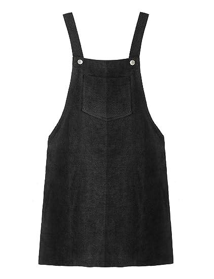 7db7cceeb Daxvens Junior Girls Corduroy Suspender Skirt Mini Bib Overall Pinafore  Dress with Pocket Black
