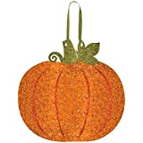 """Amscan Welcome Fall Thanksgiving Party Glitter Pumpkin Hanging Decoration, Multicolor, 11 1/3"""" x 11 1/2"""""""