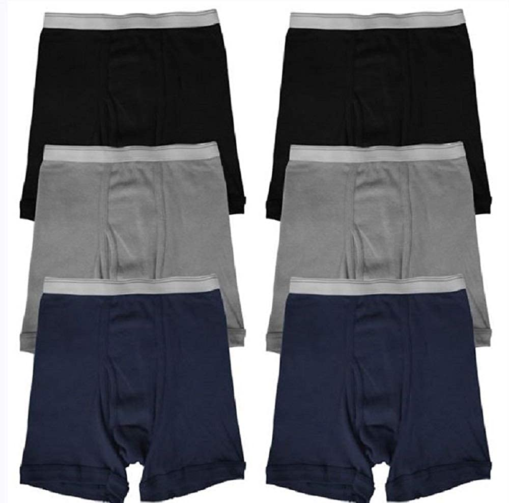 Black,Navy,Grey elpishop New Super Soft Cotton Boxer Briefs Solid Colors Lot Underwear S~XL 3 6 12 Boys Qty/&Color 6 Color