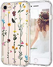 MOSNOVO iPhone SE 2020 Case, iPhone 8 Case, iPhone 7 Clear Case, Wildflower Floral Clear Design Printed Hard B