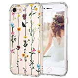 MOSNOVO iPhone 8 Case, iPhone 7 Clear Case, Wildflower Floral Clear Design Printed Plastic Hard Back Phone Case with TPU Bumper Protective Case Cover for Apple iPhone 7 / iPhone 8