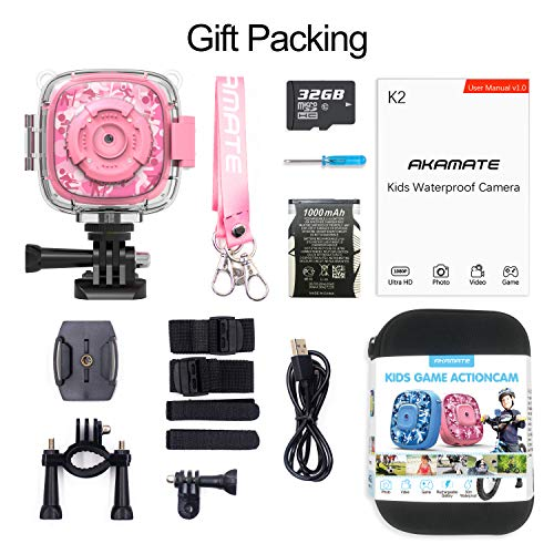 AKAMATE Kids Action Camera Waterproof Video Digital Children Cam 1080P HD Sports Camera Camcorder for Boys Girls, Build-in 3 Games, 32GB SD Card (Pink) by AKAMATE (Image #5)
