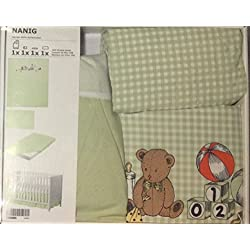(4) Piece Baby's Crib Linen Gift Set for boys Pale Green and White Gingham Duvet Featuring Teddy Bear, Monkey, Books, & Toys in the Design (1) Pale Green Crib Sheet, (1) Matching Gingham Pillowcase & (1) Pale Green Solid Crib Skirt