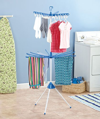 Collapsible Indoor Tripod Style Clothes Dryer 2 Tier Garment Rack Laundry Drying