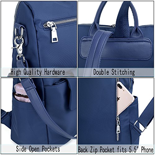 Leather Purse Ladies Crossbody PU Shoulder Pcs 2 Nylon Rucksack Bag Detachable Blue Women Washed UTO Backpack aqEXzYA