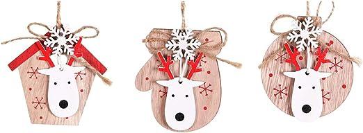 50x Wood Christmas Tree Snowflake Hanging Ornament Pendant Xmas Crafts Decor DIY