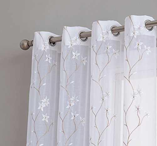 HLC.ME Emma Floral Embroidered Semi Sheer Voile Window Curta