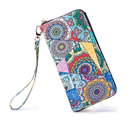 LOVESHE Women wallet Kaleidoscope Bohemian wristlet Clutch wallets