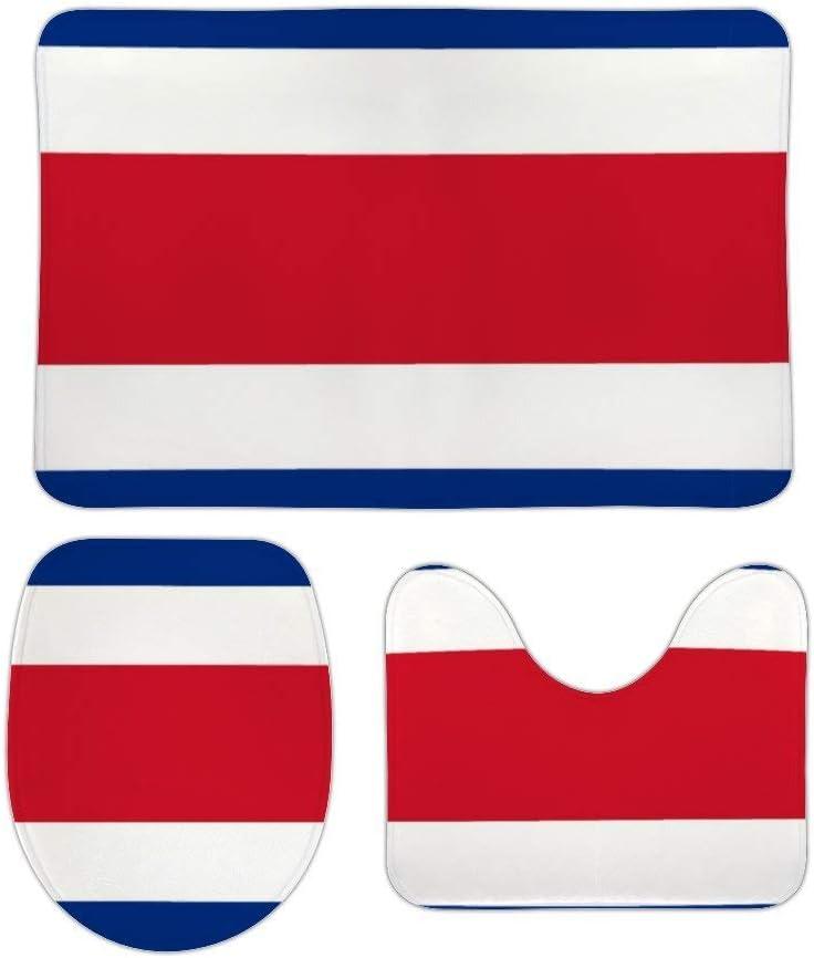 Juego de alfombras de baño RedBeans antideslizantes de 3 piezas de franela para baño, diseño de bandera de Costa Rica