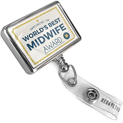Retractable ID Badge Reel Worlds Best Midwife Certificate Award with Bulldog Belt Clip On Holder Neonblond by NEONBLOND